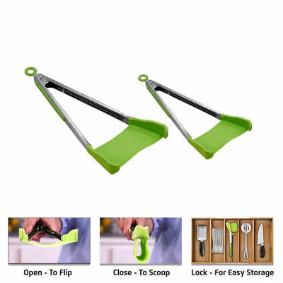2pcs Set Clever Tongs Kitchen Spatula And Tong Non Stick Heat Resistance  2 in 1