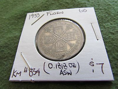 1933 Great Britain Silver Florin UK Coin 2 Shillings KM #834