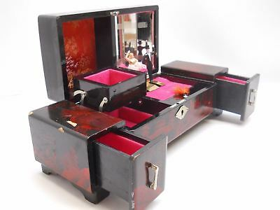 VINTAGE JAPANESE Jewelry box Musical with Ballerina Red Black