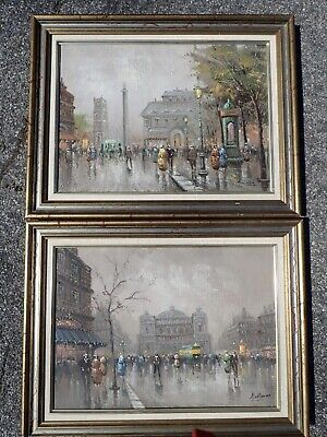 Pair Signed OIl on Canvas after Johann Berthelsen Cityscape Painting 22x27