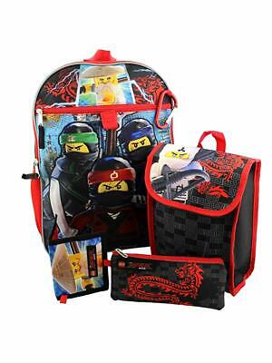 """LEGO Ninjago 16"""" Backpack 5pc Set with Snack Tote, Wallet, Pencil Case and Carab"""