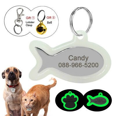 Pet Dog ID Tags Personalized Glow in Dark Silencer Protect Tag Engraved Fish/Paw