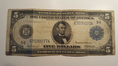 1914 $5 Federal Reserve Note Blue Seal No Reserve