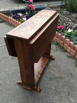Solid Oak Arts & Crafts Small Revolving Side Gate Leg Style Table