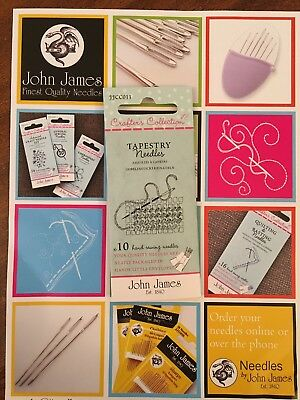 John James CRAFTER'S COLLECTION 10 TAPESTRY NEEDLES sizes 18, 20 + 22