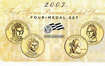 Very Rare 2007 First Spouse Bronze Medal Series, Four Medal Set. Mule Mint Error