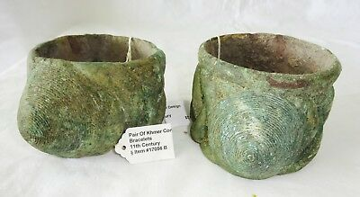 Pair 11C Cambodian South East Asian Khmer Excavated Bronze Cone Bracelets (Mil)