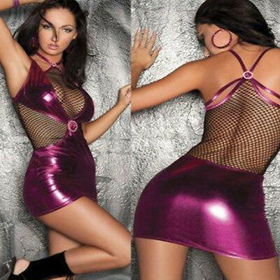 Women Sexy Bodycon PU Leather Fishnet Sheer Lingerie Short Mini Dress Club Party
