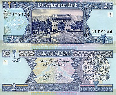 AFGHANISTAN  2 Afghan Banknote World Paper Money UNC Currency Pick p65 Bill Note