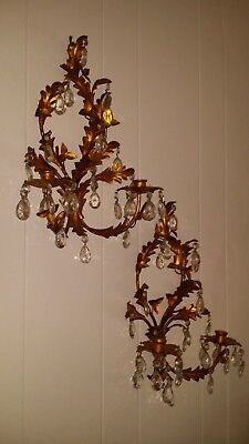 Pr Italian Gold Gilt & Crystal Tole Metal Leaf Hollywood Regency Candle Sconces