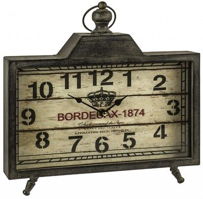 Vintage Style French Bordeaux 1874 Metal Shelf Mantel Carriage Clock