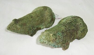 500BC Pair S.E. Asian Dong Son Period Bronze Frog Fittings - Excavated (Mil)
