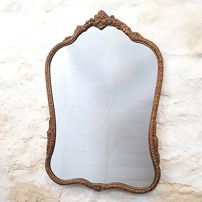 Rococo Style Ornate Gilt Metal Frame Wall Mirror (Antique)