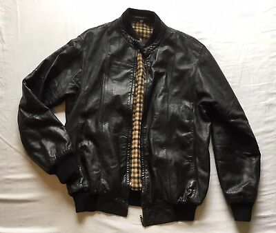 Made in ITALY Light Weight Smalby Mens Black Leather Jacket size Large 50