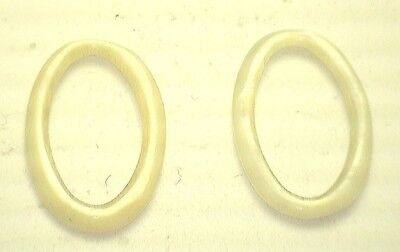 Antique  Oval Yellowish Cream Mother of Pearl Abalone Hoop Stones 2/set #K322