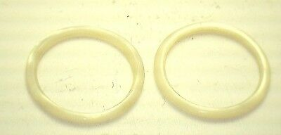 Antique Round Yellowish Cream Mother of Pearl Abalone Hoop Stones 2/set #K323