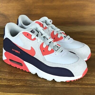 new product 95f77 ea820 NIKE AIR MAX 90 Leather Grey White Red Fuchsia Running Shoes Womens Size 4.5