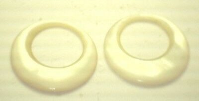 Antique Round Crescent Yellow Cream Mother Pearl Abalone Hoop Stones 2/set K327