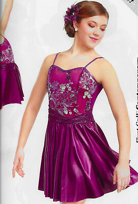Chances Are Embroidered Wine Plum Contemporary Curtain Call Dance Costume Dress