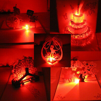 3D Pop Up Greeting Cards LED Light  Happy Birthday Music Postcards
