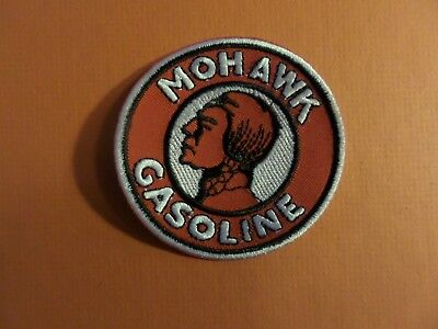 MOHAWK GASOLINE red & white  Embroidered 3 x 3 Iron On Patch