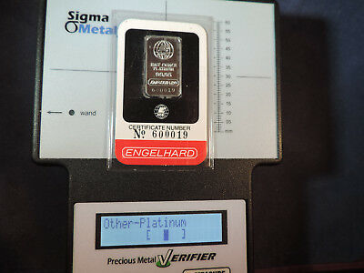 Engelhard 1/2 Oz Platinum Bar In Assay Card Rare Free Shipping And Insurance