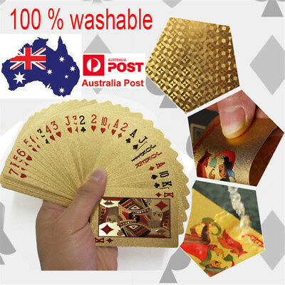 Magic Card 24K Gold Foil Plated Waterproof Game Poker Plastic Playing Cards Deck