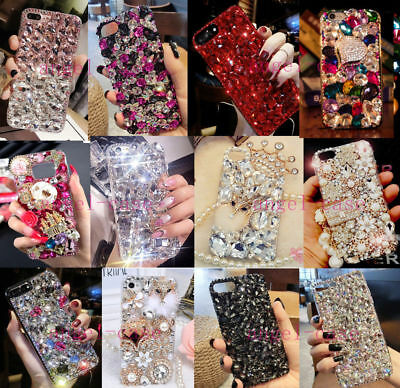 For iPhone Xs Max Xr 8Plus S10+ Bling Diamonds Rhinestones Jewelled Case Cover
