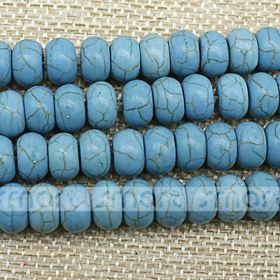 "Synthetic Turquoise Blue Round Flat Shape Spacer Beads 15.5"" Inches Strand"