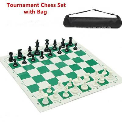 Plastic 35x35cm Tournament Chess Set, Roll-up Mat Camping Travel Amusement Gift