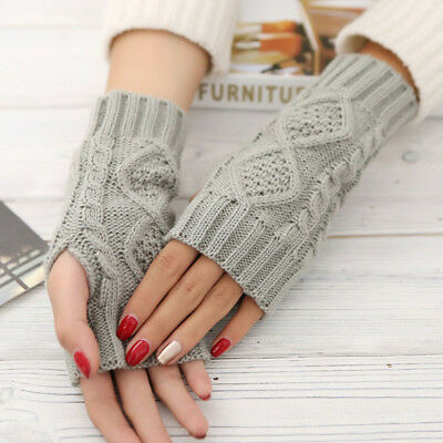 Spring Warmer Winter Long Unisex Women Men Knitted Arm Gloves Fingerless