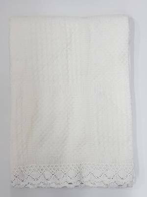 Babies Boy Girl Christening Baptism Knitted Blanket Kid Lace Wrapper B170 White