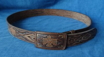 Vintage Fred Harvey by Chambers Phoenix Navajo Indian Tooled Leather Belt
