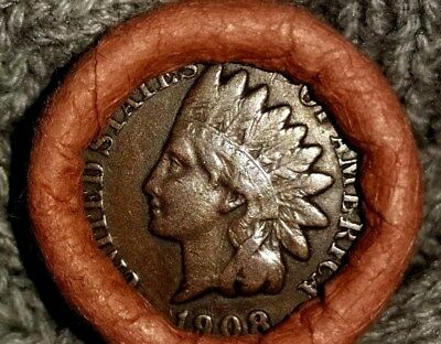 Unsearched Indian Head Flying Eagle Cent Wheat Penny Roll1907 and 1908 Showing!