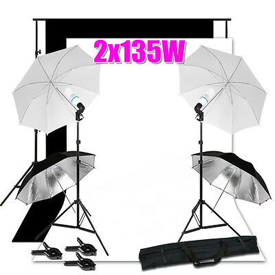Photo Studio Umbrella Lighting Background Screen Black White Backdrop Stand Kit