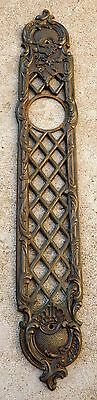 Large French Antique Ornate Bronze Door Bell Escutcheon Plate Rare