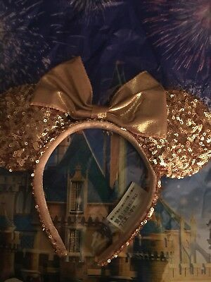 New Disney Rose Gold Minnie Mouse Ears Sequins Headband Disney Authentic NEW!!