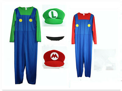 Adult Super Mario Luigi Bros Plumber Brothers Mens Fancy Dress Outfit Costume