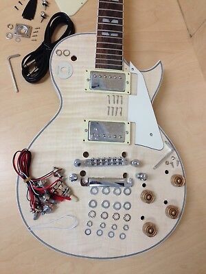 Complete No-Solder,Solid Body,Flame Maple Veneer LP Electric Guitar 238DIY Kits