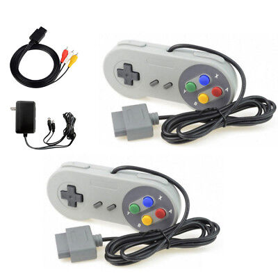 AC Adapter Power Cord AV Video Cable + 2 Controllers For Super Nintendo SNES NEW