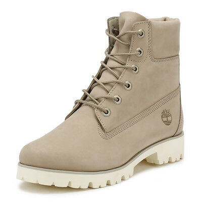 Timberland Womens Heritage Lite Boots Pure Cashmere Ivory Leather Ankle Shoes