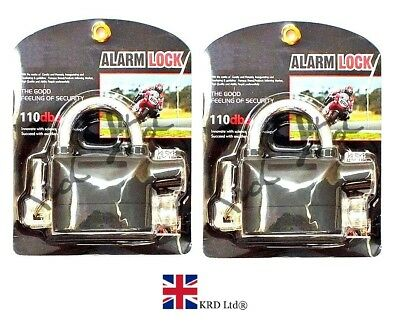 2x HEAVY DUTY ALARM LOCK Siren Motobike Key Lock Bicycle Padlock Security Pad UK