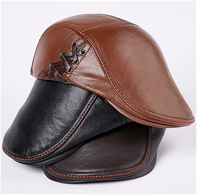 Men/'s Fashion Genuine Leather Newsboy Cap Casual Ivy Hat New