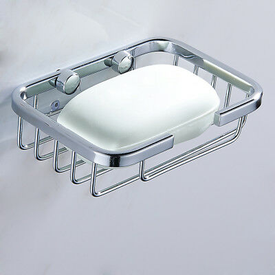 Stainless Steel Wall Mounted Soap Dish Holder Basket Tray Bathroom Bath Holder