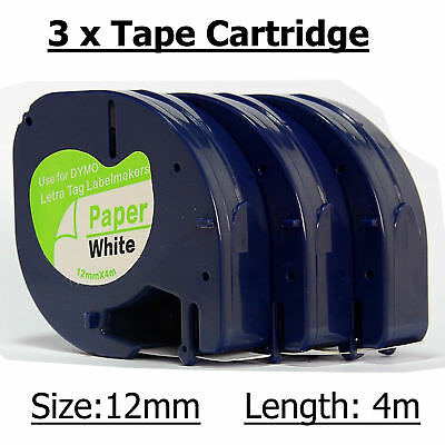 3 x Tape Cartridge 91200 White Paper 12mm by 4m FOR DYMO LETRATAG Label Maker UK