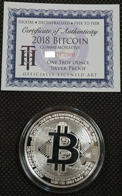 2018 BITCOIN PROOF 1 OZ .999 FINE SOLID SILVER COMMEMORATIVE AOCS LIMITED w/ COA