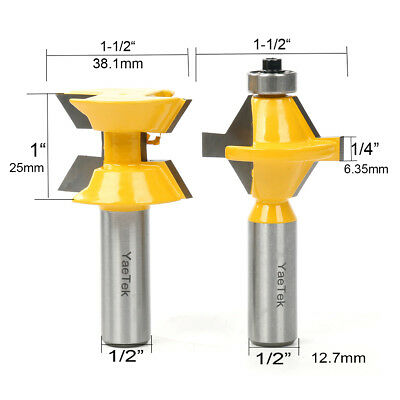"2 Bit 1/2"" SH Matched Tongue and Groove Edge Banding Router Bit Set"