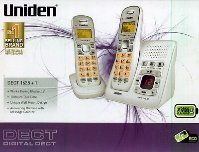 Uniden Dect 1635+1 White Cordless Phone 2 Handsets With Digital Answaring Machin