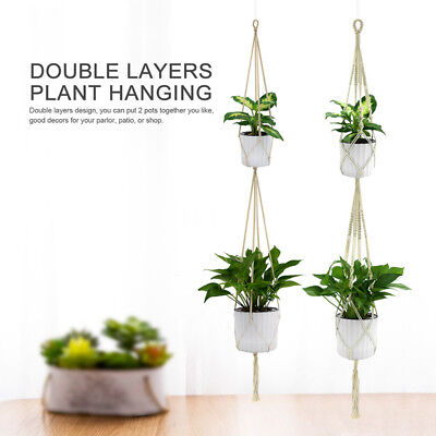 Jute Rope Braided Craft Pot Holder Macrame Plant Hanger Hanging Planter Basket