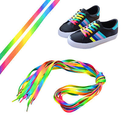 New Rainbow Multicolour Green Orange Yellow Shoe Laces Fancy Dress Dance